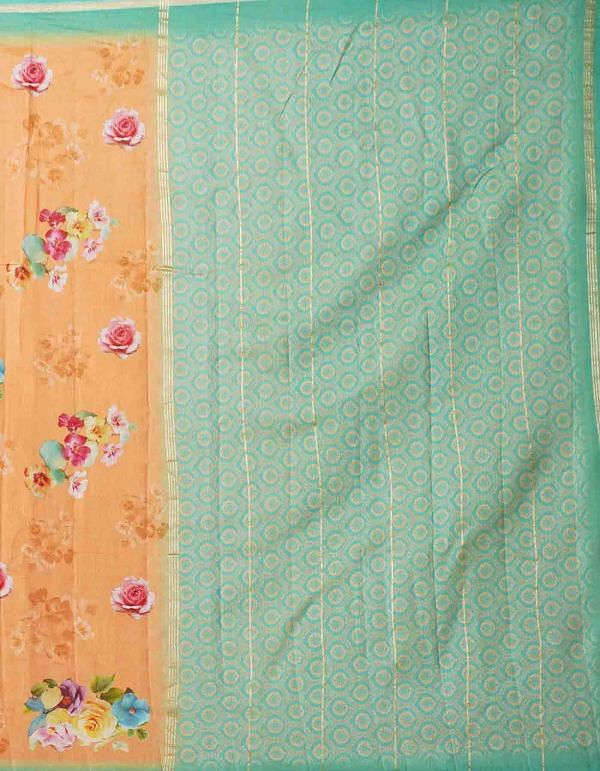 Online Shopping for Orange Pure Floral Chanderi Sico Saree with Fancy/Ethnic Prints from Madhya Pradesh at Unnatisilks.comIndia