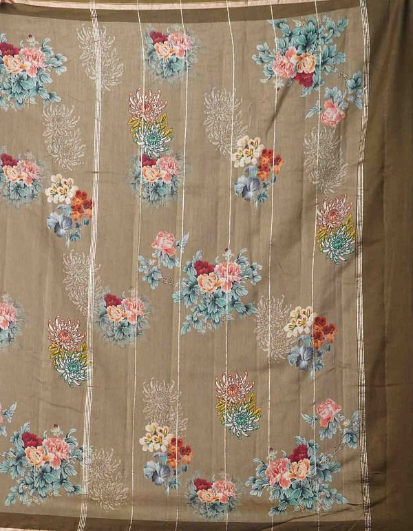 Online Shopping for Grey Pure Floral Chanderi Sico Saree with Fancy/Ethnic Prints from Madhya Pradesh at Unnatisilks.comIndia