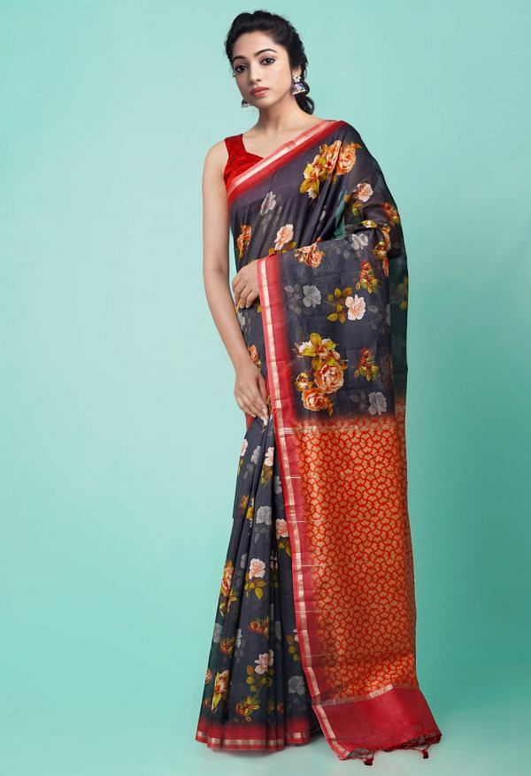 Online Shopping for Black Pure Floral Chanderi Sico Saree with Fancy/Ethnic Prints from Madhya Pradesh at Unnatisilks.comIndia