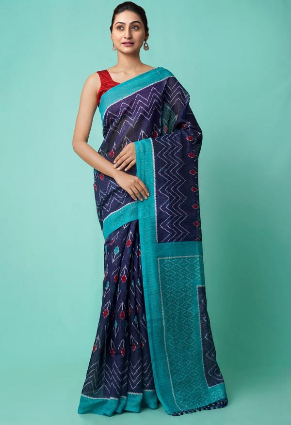 Online Shopping for Navy Blue  Ikat Sambalpuri Silk Saree with Ikat from Orrisa at Unnatisilks.comIndia