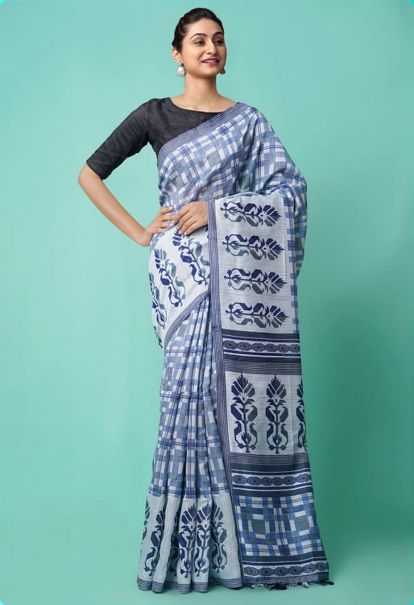 Online Shopping for Blue  Digital Printed Linen Silk Saree with Digital Prints from Orrisa at Unnatisilks.comIndia