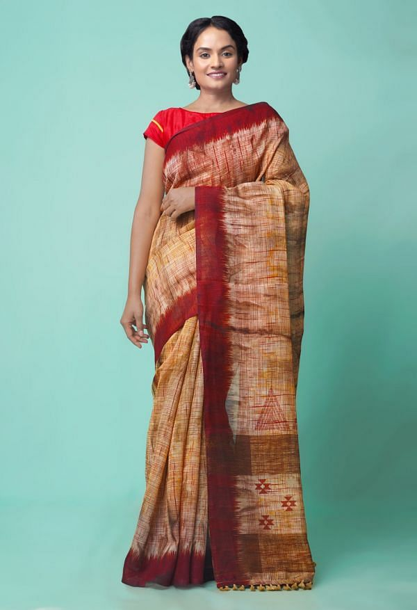 Online Shopping for Brown  Digital Printed Linen Silk Saree with Ikat from Orrisa at Unnatisilks.comIndia