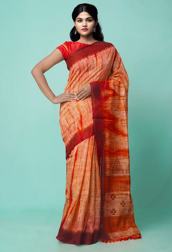 Online Shopping for Red  Digital Printed Linen Silk Saree with Digital Prints from Orrisa at Unnatisilks.comIndia