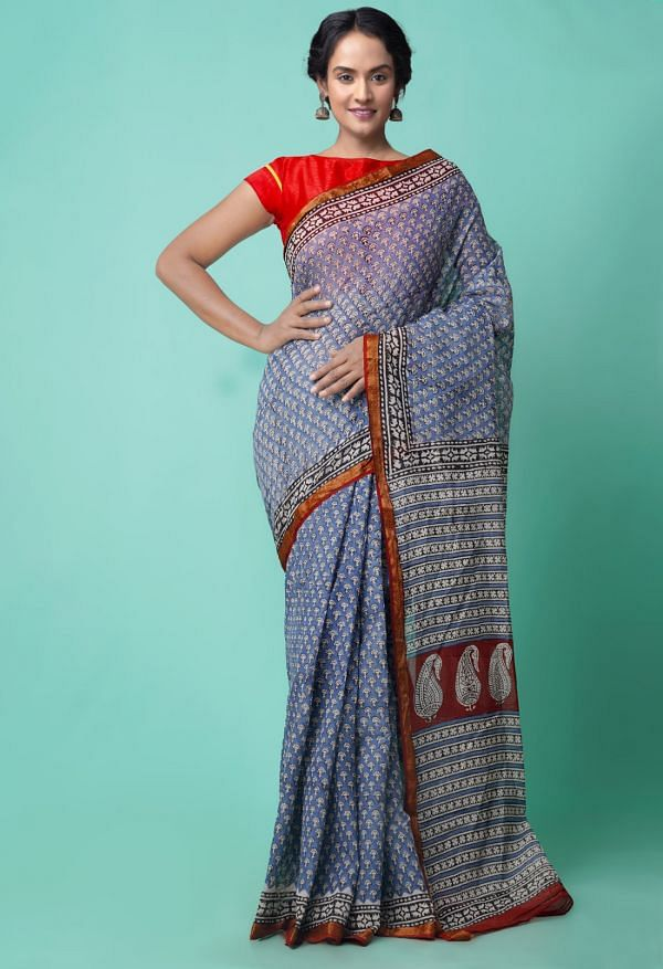 Online Shopping for Blue Pure Bagru Printed Mulmul Cotton Saree with Bagru from Rajasthan at Unnatisilks.comIndia