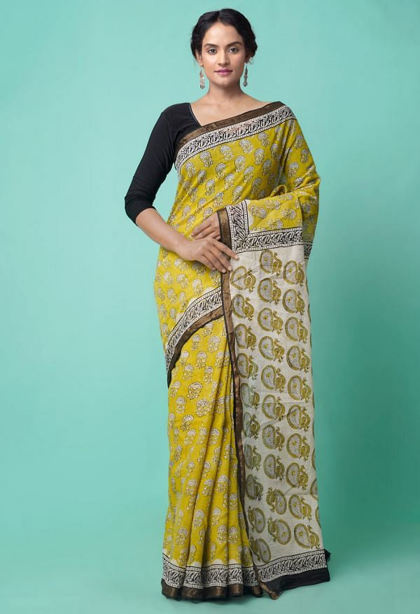 Online Shopping for Yellow Pure Bagru Printed Mulmul Cotton Saree with Bagru from Rajasthan at Unnatisilks.comIndia