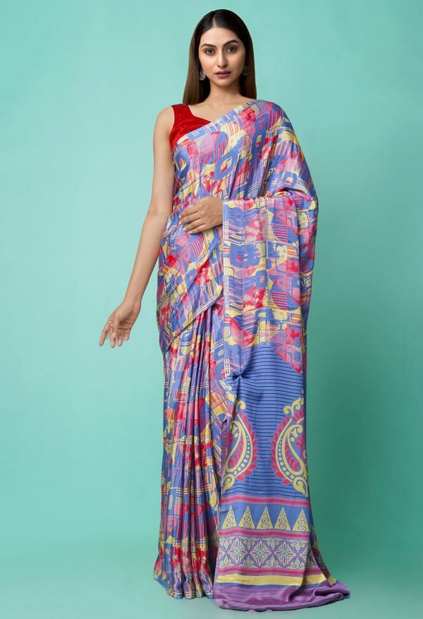 Online Shopping for Violet Digital Printed Crepe Silk Saree with Fancy/Ethnic Prints from Punjab at Unnatisilks.comIndia