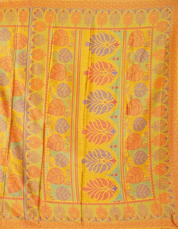Online Shopping for Yellow  Digital Printed Crepe Silk Saree with Fancy/Ethnic Prints from Punjab at Unnatisilks.comIndia