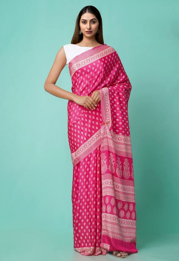 Online Shopping for Pink  Digital Printed Crepe Silk Saree with Fancy/Ethnic Prints from Punjab at Unnatisilks.comIndia