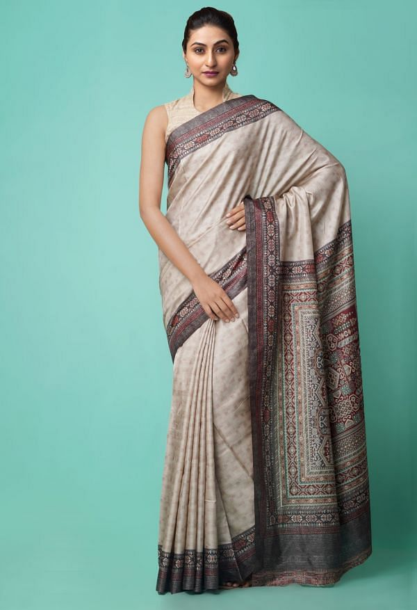 Online Shopping for Grey  Digital Printed Crepe Silk Saree with Fancy/Ethnic Prints from Punjab at Unnatisilks.comIndia