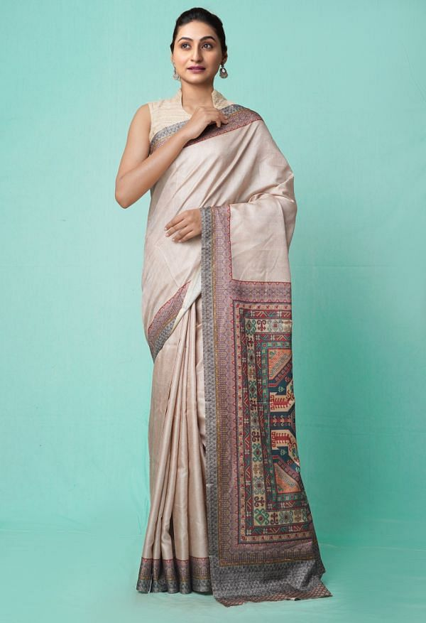 Online Shopping for Brown  Digital Printed Crepe Silk Saree with Fancy/Ethnic Prints from Punjab at Unnatisilks.comIndia