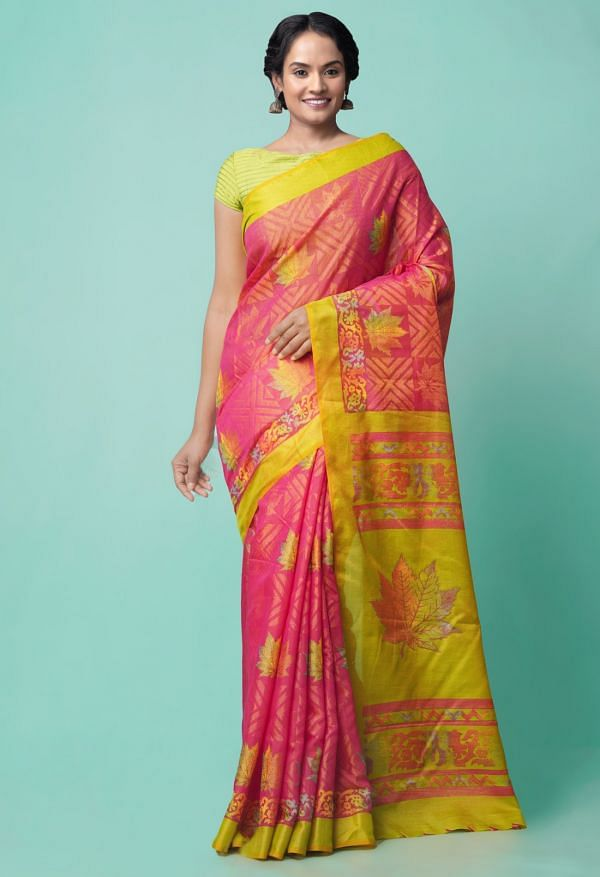 Online Shopping for Pink  Digital Printed Chanderi Sico Saree with Fancy/Ethnic Prints from Madhya Pradesh at Unnatisilks.comIndia