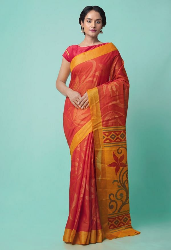 Online Shopping for Red  Digital Printed Chanderi Sico Saree with Fancy/Ethnic Prints from Madhya Pradesh at Unnatisilks.comIndia