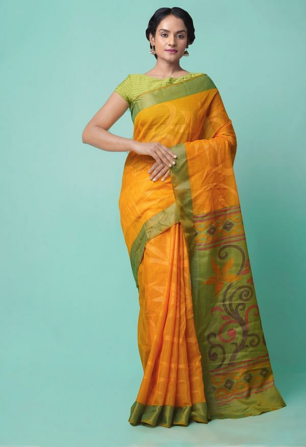 Online Shopping for Orange  Digital Printed Chanderi Sico Saree with Fancy/Ethnic Prints from Madhya Pradesh at Unnatisilks.comIndia