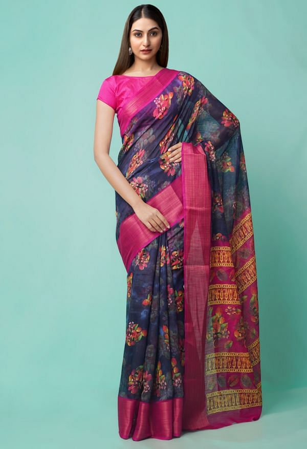 Online Shopping for Blue  Digital Printed Chanderi Sico Saree with Fancy/Ethnic Prints from Madhya Pradesh at Unnatisilks.comIndia