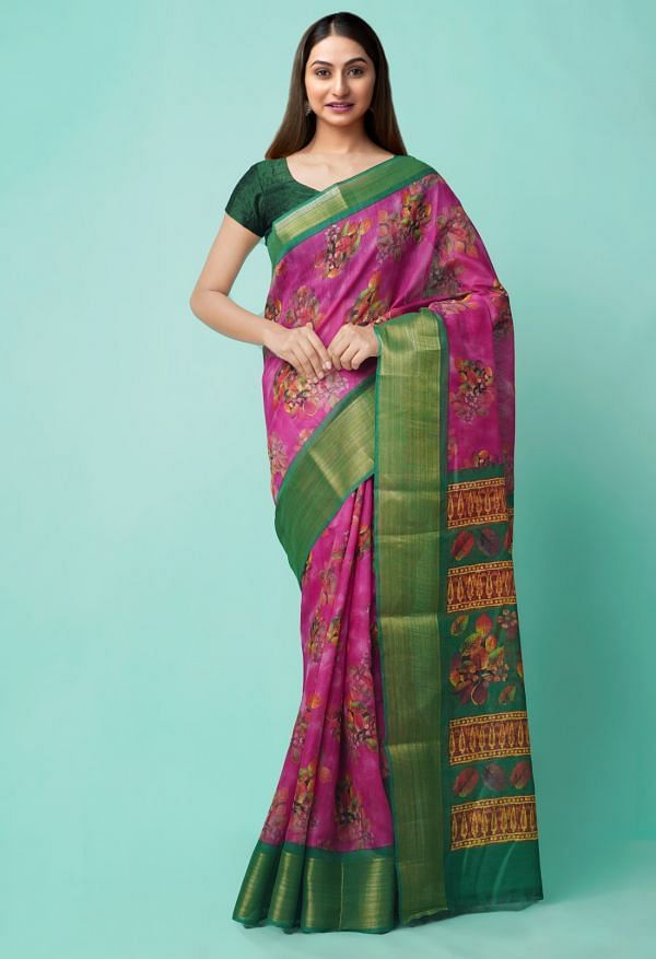 Online Shopping for Pink  Digital Printed Chanderi Sico Saree with Digital Prints from Madhya Pradesh at Unnatisilks.comIndia