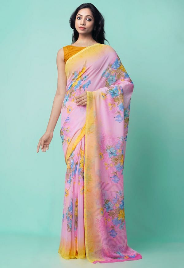 Online Shopping for Pink  Digital Printed Georgette  Saree with Digital Prints from Madhya Pradesh at Unnatisilks.comIndia