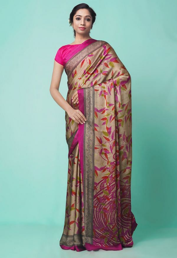 Online Shopping for Brown  Digital Printed Georgette  Saree with Digital Prints from Madhya Pradesh at Unnatisilks.comIndia