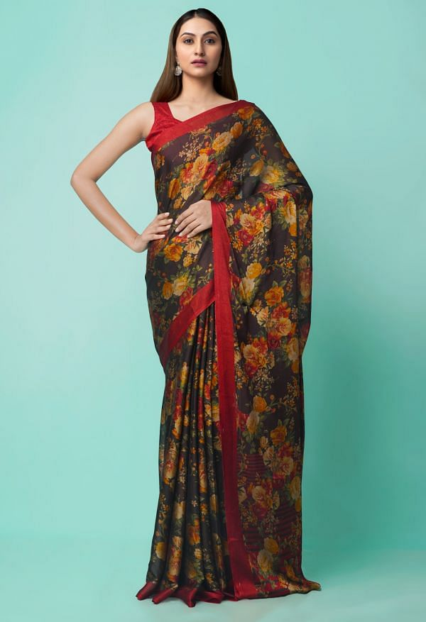 Online Shopping for Black  Digital Printed Georgette  Saree with Digital Prints from Madhya Pradesh at Unnatisilks.comIndia