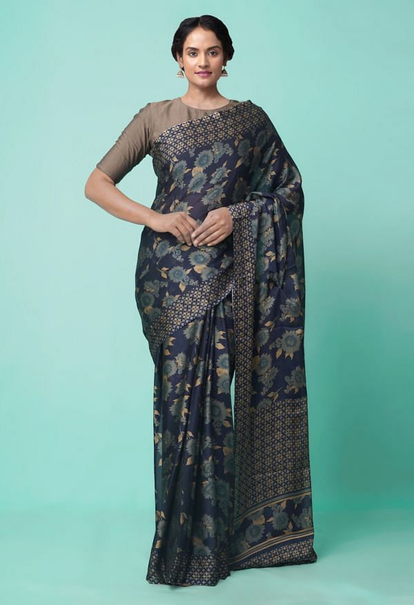 Online Shopping for Navy Blue  Digital Printed Georgette  Saree with Digital Prints from Madhya Pradesh at Unnatisilks.comIndia