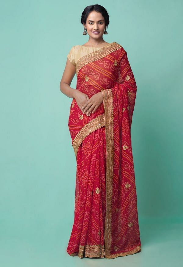 Online Shopping for Red  Gota Patti Bandhani Chiffon  Saree with Bandhani, Gota Patti from Punjab at Unnatisilks.comIndia