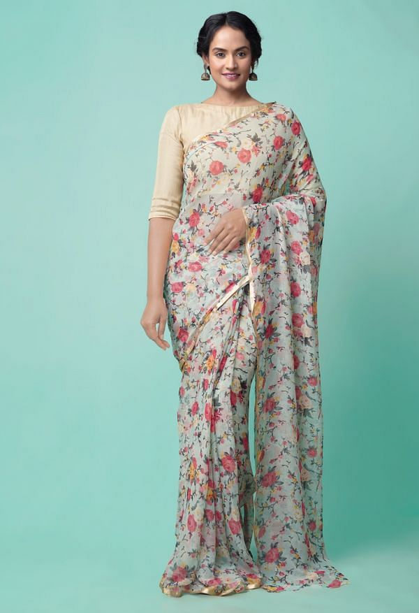 Online Shopping for Grey  Bollywood Chiffon Floral  Saree with Fancy/Ethnic Prints from Punjab at Unnatisilks.comIndia