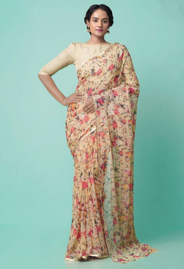 Online Shopping for Yellow  Bollywood Chiffon Floral  Saree with Fancy/Ethnic Prints from Punjab at Unnatisilks.comIndia
