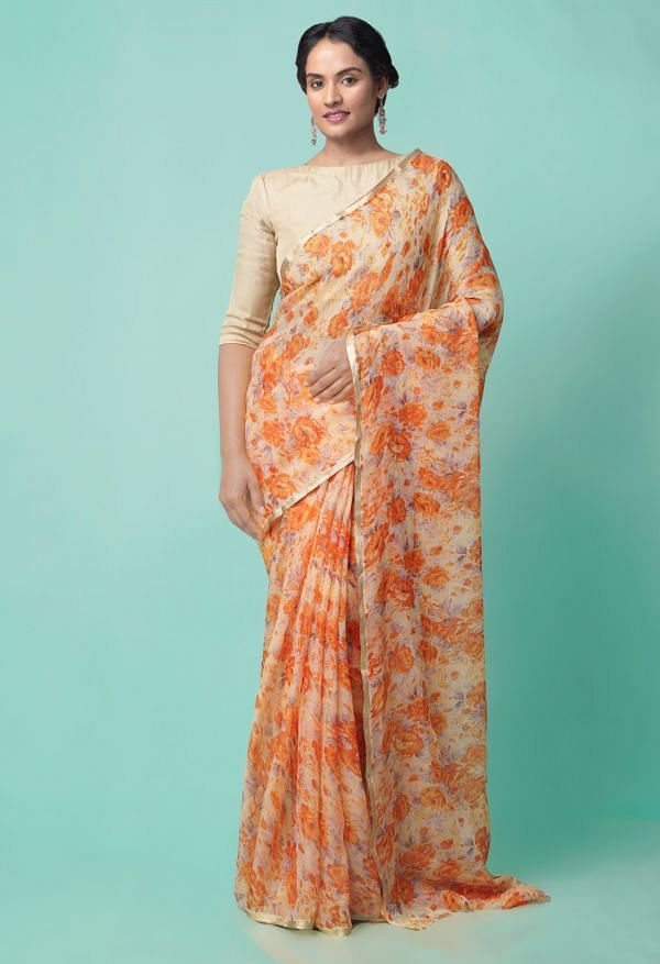 Online Shopping for Orange  Bollywood Chiffon Floral  Saree with Fancy/Ethnic Prints from Punjab at Unnatisilks.comIndia