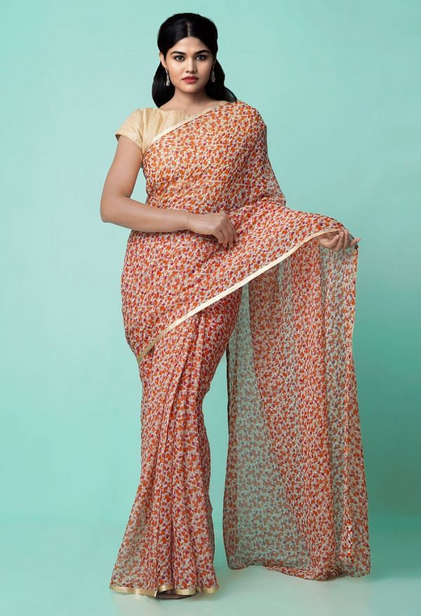 Online Shopping for Multi  Bollywood Chiffon Floral  Saree with Fancy/Ethnic Prints from Punjab at Unnatisilks.comIndia