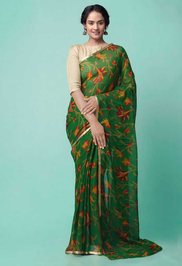 Online Shopping for Green  Bollywood Chiffon Floral  Saree with Fancy/Ethnic Prints from Punjab at Unnatisilks.comIndia
