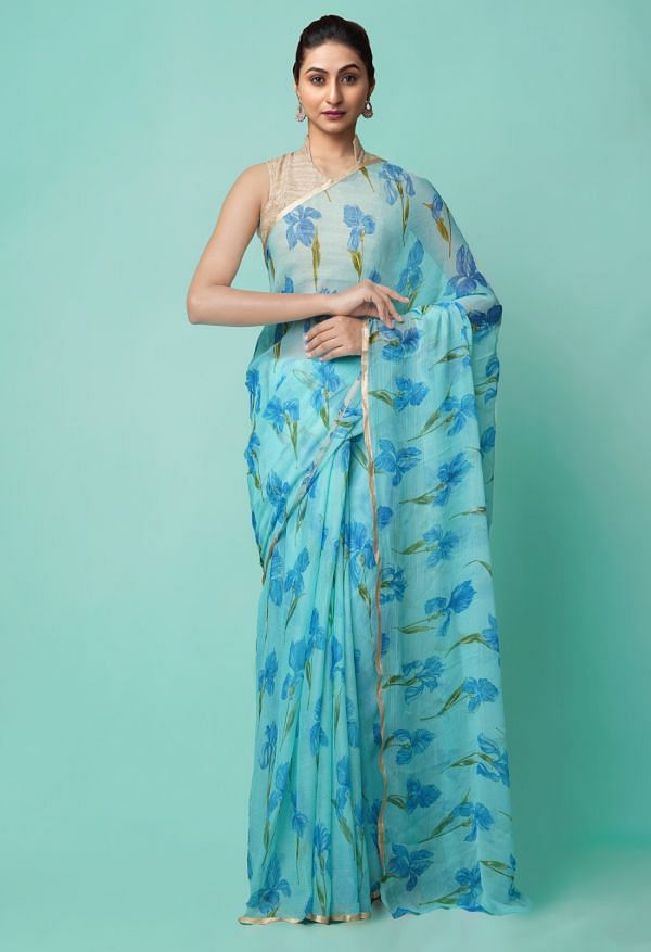 Online Shopping for Blue  Bollywood Chiffon Floral  Saree with Fancy/Ethnic Prints from Punjab at Unnatisilks.comIndia