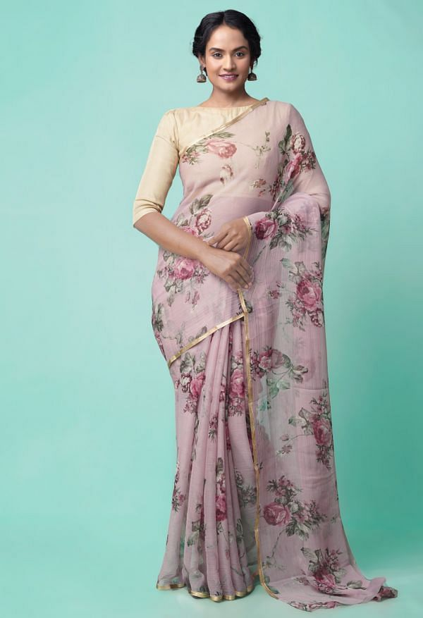 Online Shopping for Mauve Pink  Bollywood Chiffon Floral  Saree with Fancy/Ethnic Prints from Punjab at Unnatisilks.comIndia