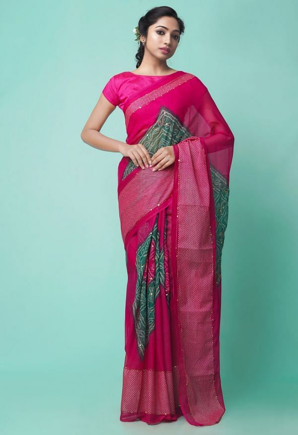 Online Shopping for Pink Chiffon  Saree with Badla Embroidery with Badla Embroidery from Punjab at Unnatisilks.comIndia