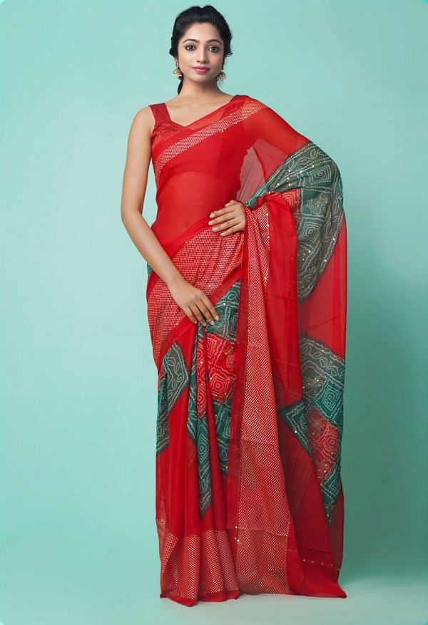 Online Shopping for Red Chiffon  Saree with Badla Embroidery with Badla Embroidery from Punjab at Unnatisilks.comIndia