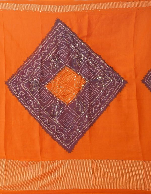 Online Shopping for Orange Chiffon  Saree with Badla Embroidery with Badla Embroidery from Punjab at Unnatisilks.comIndia