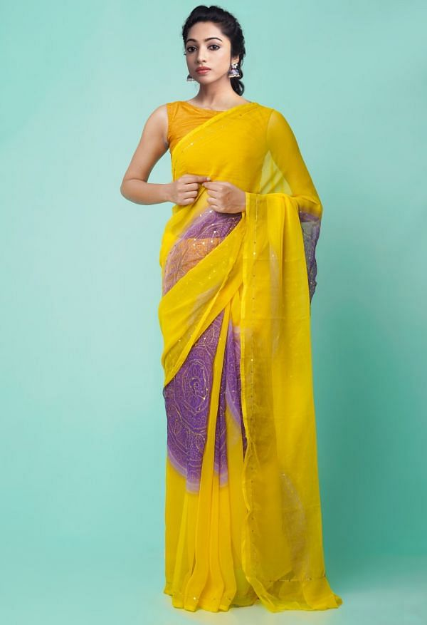 Online Shopping for Yellow Chiffon  Saree with Badla Embroidery with Badla Embroidery from Punjab at Unnatisilks.comIndia