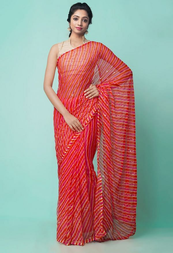 Online Shopping for Red-Pink Chiffon  Saree with Badla Embroidery with Badla Embroidery from Punjab at Unnatisilks.comIndia