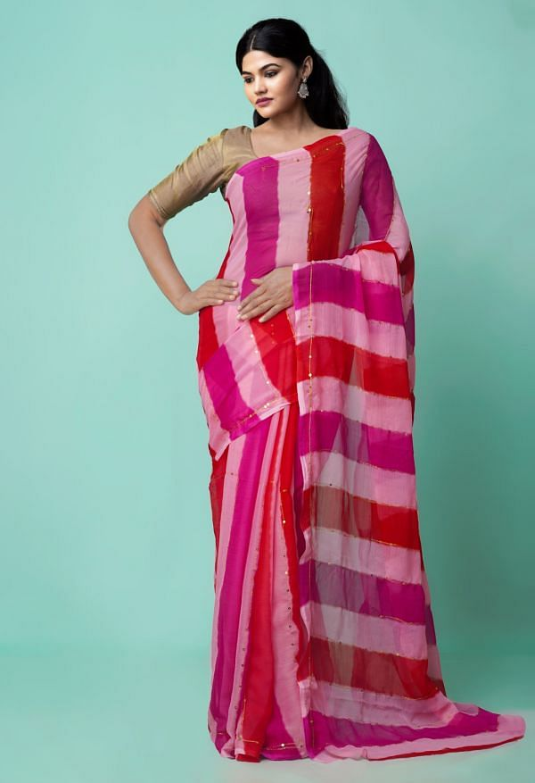 Online Shopping for Multi Chiffon  Saree with Badla Embroidery with Badla Embroidery from Punjab at Unnatisilks.comIndia