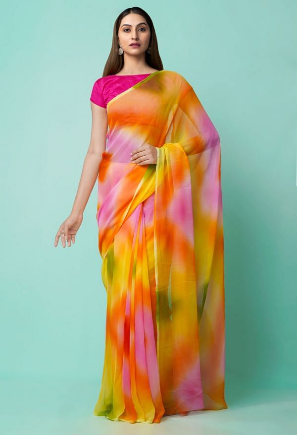 Online Shopping for Multi  Plain Chiffon  Saree with Weaving from Punjab at Unnatisilks.comIndia