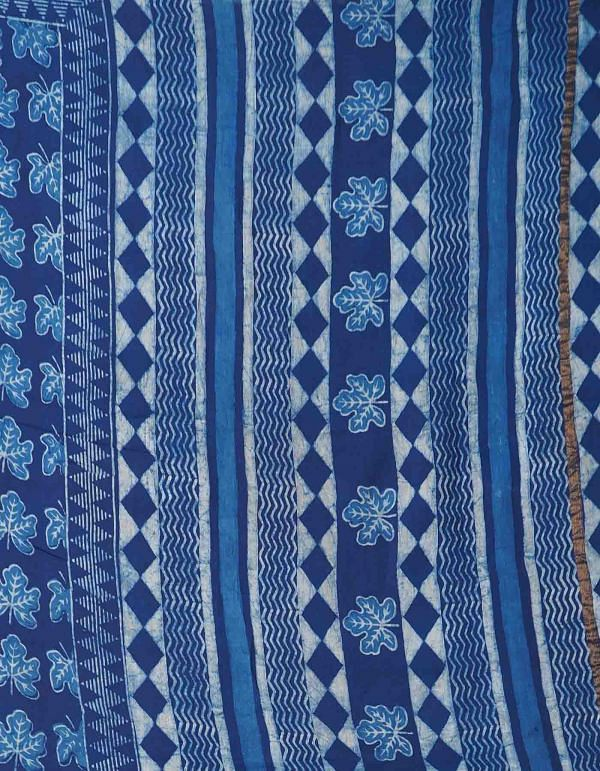 Online Shopping for Indigo Blue Pure Dabu Printed Chanderi Sico Saree with Dabu from Madhya Pradesh at Unnatisilks.comIndia