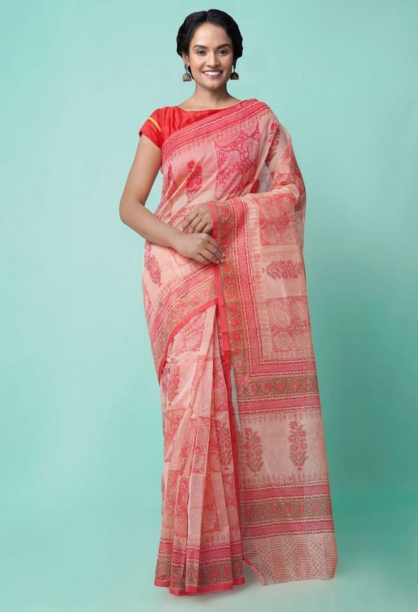 Online Shopping for Pink  Summer Supernet  Saree with Hand Block Prints with Hand Block Prints from Rajasthan at Unnatisilks.comIndia