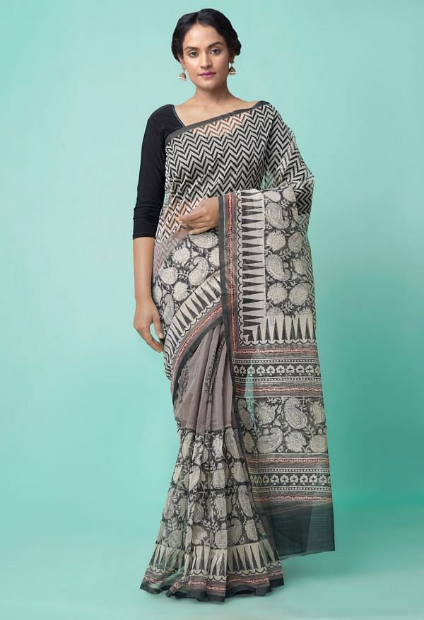 Online Shopping for Grey  Summer Supernet  Saree with Hand Block Prints with Hand Block Prints from Rajasthan at Unnatisilks.comIndia