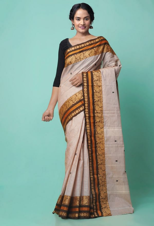 Online Shopping for Brown Pure Handcrafted Pavni Cotton Saree with Weaving from Tamil Nadu at Unnatisilks.comIndia