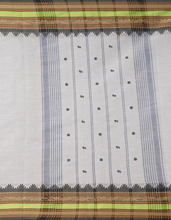 Online Shopping for Ivory Pure Handcrafted Pavni Cotton Saree with Weaving from Tamil Nadu at Unnatisilks.comIndia