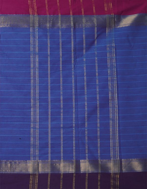 Online Shopping for Blue-Pink Pure Handcrafted Pavni Cotton Saree with Weaving from Tamil Nadu at Unnatisilks.comIndia