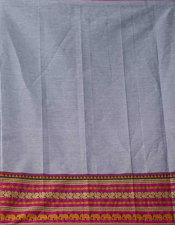 Online Shopping for Grey Pure Handcrafted Pavni Cotton Saree with Weaving from Tamil Nadu at Unnatisilks.comIndia