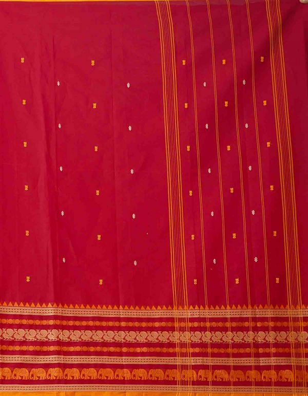 Online Shopping for Red Pure Handcrafted Pavni Cotton Saree with Weaving from Tamil Nadu at Unnatisilks.comIndia