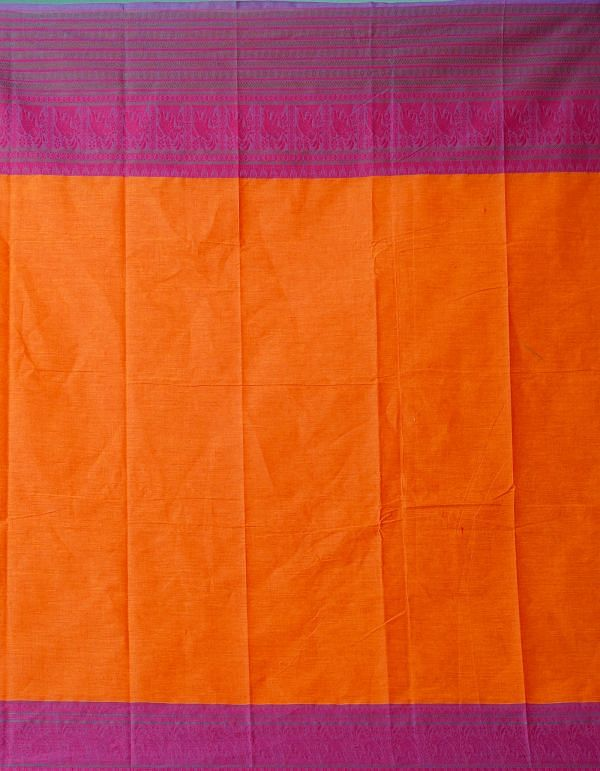 Online Shopping for Orange Pure Handcrafted Pavni Cotton Saree with Weaving from Tamil Nadu at Unnatisilks.comIndia