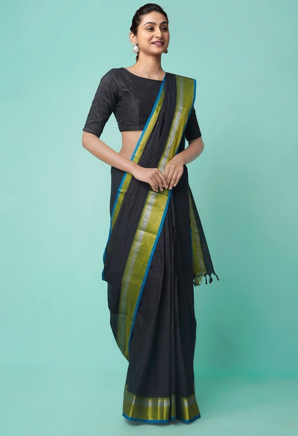Online Shopping for Black Pure Handcrafted Pavni Cotton Saree with Weaving from Tamil Nadu at Unnatisilks.comIndia