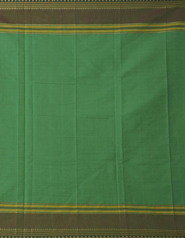 Online Shopping for Green Pure Handcrafted Pavni Cotton Saree with Weaving from Tamil Nadu at Unnatisilks.comIndia