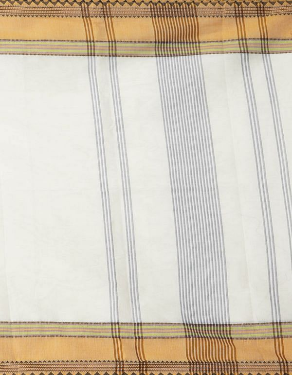 Online Shopping for White Pure Handcrafted Pavni Cotton Saree with Weaving from Tamil Nadu at Unnatisilks.comIndia